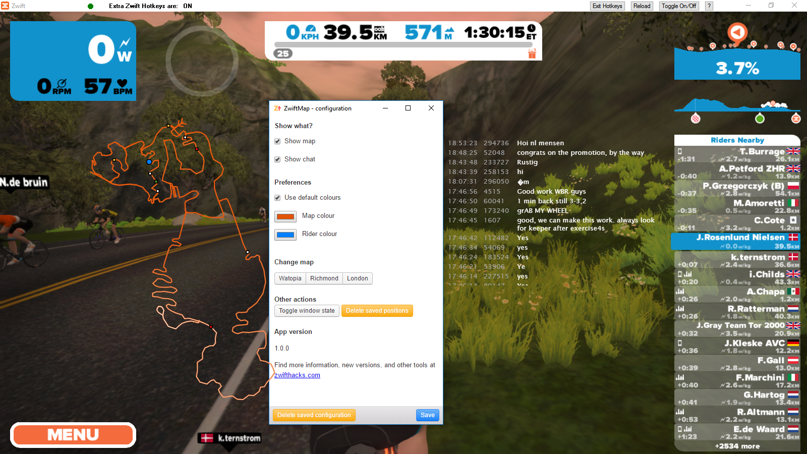 Update your ZwiftMap with chat overlay and custom colours